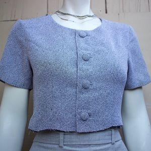 Vintage button front crop top blouse